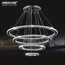 warranty 3 years model modern crystal chandeliers ceiling light 4 rings light color cool white 6000k 6500k material top grade k9 crystals and stainless
