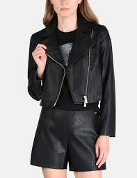 armani exchange embossed cropped moto jacket pu for women a x