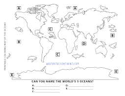 Map of the moon poster. Printable 5 Oceans Coloring Map For Kids The 7 Continents Of The World