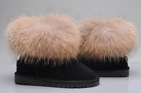 UGG Fox Fur Mini Boots 5854 Black