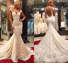 cap sleeve appliques lace mermaid backless wedding dress tbdress com