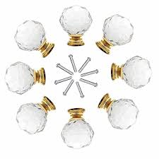 8 x 40mm jp hardware gold clear crystal glass door knobs drawer cabinet furniture handles drawer