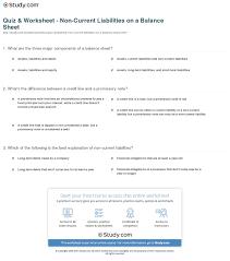 Quiz Worksheet Non Current Liabilities On A Balance Sheet
