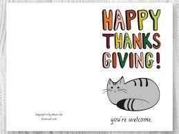 Printable Thanksgiving Cards Printable Thanksgiving Cards Happy Thanksgiving Cat Card
