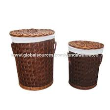 natural wooden chip laundry basket with cover