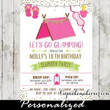 Birthday Party Evites Slumber Party Invitations Pink Glamping Tent Sleepover Birthday