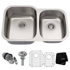kraus 32 inch undermount 60 40 double bowl 16 gauge stainless steel kitchen sink with