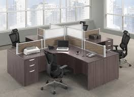 4 person modern walnut desk pod with drawers and privacy panels
