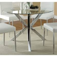 coaster vance contemporary glass top round dining table in chrome within plan 9