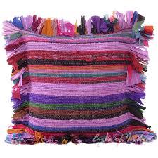 purple chindi colorful throw pillow couch sofa cushion boho rag rug bohemian cover 16