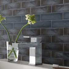 black brick wall tile textured black