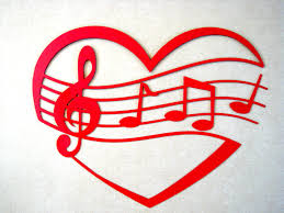 on red metal heart wall art with music staff of my heart shaped metal wall art sculpture