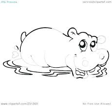 Cute Hippo Coloring Pages Baby Hippo Coloring Pages Mural Hippo With