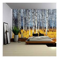 wall26 landscape mural of a birch tree forest wall mural removable sticker home decor 66x96 inches com