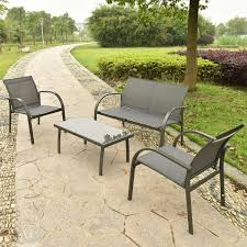costway 4pcs patio garden furniture set steel frame outdoor lawn sofa chairs table gray com