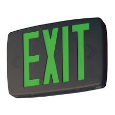 lithonia lighting quantum 1 light green stencil 1 watt matte black integrated led exit sign lqm s 3 g 120 277 m6 the home depot