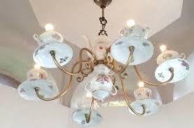 teacup chandelier reuse old porcelain teacups ideas creative chandelier teacup chandelier menards