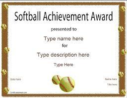 softball award certificate sports certificates softball certificate certificatestreet com