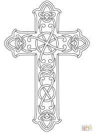 Printable Coloring Pages coloring pages of the cross : Celtic Designed Cross coloring page | Free Printable Coloring Pages