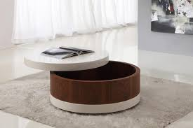 small round wood coffee table with storage