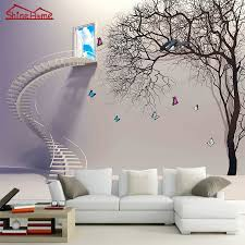 High Quality Cool Cartoon Grey Stairs Window Tree Natrual 3d Photo Wallpaper Mural Rolls  For Wall Paper 3d Livingroom Painting Kids Bedroom In Wallpapers From Home  ...