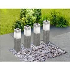 garden bollard lighting. Solar Powered Stone Effect Garden Bollard Lights 4 Pack Lighting