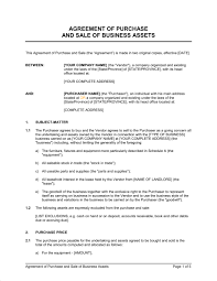 Business Sale Contract Template Agreement Of Purchase And Sale Of