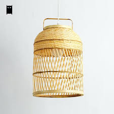 woven pendant light hand round bamboo wicker rattan cage fixture cottage ceiling suspended lamp design in