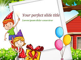 Powerpoint Frame Theme Children Having Birthday Party And Photo Frame Free