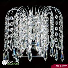 24ct gold plated asfour lead crystal waterfall wall bracket w prisma lighting illusions