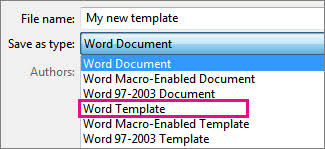 Create A Word Template Create A Template Office Support