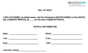 bill of sale bill of sale templates lovetoknow