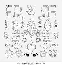 set of vintage linear thin line geometric shape art deco retro design elements with frame corner art deco furniture lines