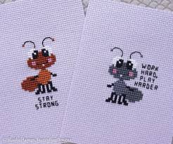 Fuzzy Fox Designs Two Tiny Ants Cross Stitch Pattern Pdf Seven Mini
