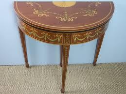 edwardian mahogany marquetry inlaid demi lune card hall lamp side semi circular console pier table la95345 loveantiques com