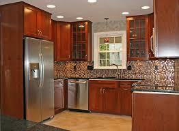 Small Sectional Tile Backsplash Wooden Cabinets Kitchen Remodel Ideas