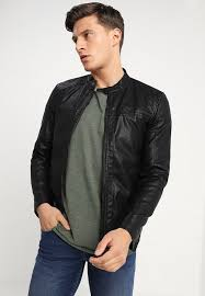 onsal faux leather jacket black