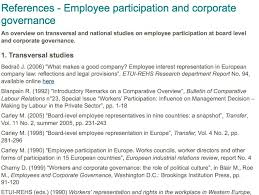 what makes a great employee references employee participation and corporate governance board