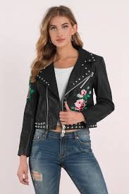 tobi leather jackets black m i a embroidered studded faux leather jacket tobi