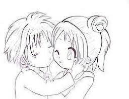 cute anime love chibi drawing. Cute Anime Chibi Couple Drawing Sketch Coloring Page On Love