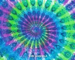 parrot green and purple tie dye mandala bedding set with pillow covers