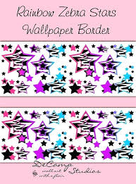 Perfect Zebra Print Wallpaper Border For Bedrooms Rainbow Zebra Stars Wallpaper  Border Decals Animal Print For Teen Girls Bedroom Abstract And Modern Zebra  Print ...