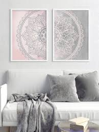 mandala wall art set of 2 prints boho