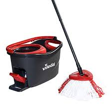 Vileda <b>Turbo</b> Microfibre Mop and Bucket Set, Plastic, Grey/Red, 48.5 ...
