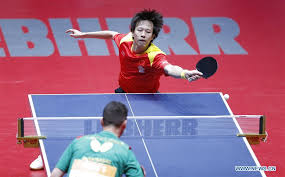 against tiago apolonia of portugal during the fourth round of men s group matches at 2018 world team table tennis championships in halmstad sweden