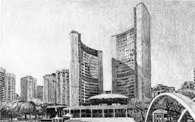 Toronto City Hall I Study Drawing by Duane Gordon