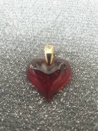 details about lalique red glass heart pendant small chip see photo