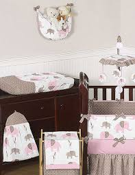 elephant pink taupe crib bedding set by sweet jojo designs 9 piece