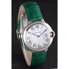 cartier ballon bleu silver bezel with pearl dial green leather band 621552