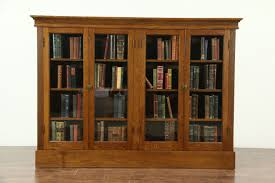 oak 1900 antique library bookcase 4 wavy glass doors adjule shelves